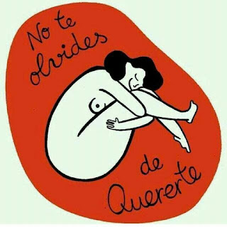 Caricatura de mujer en posición fetal con el mensaje de que no te olvides de quererte