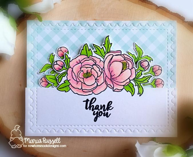 Floral Thinking of You Card by Maria Russell | Peony Blooms Stamp Set and Framework Die set by Newton's Nook Designs #newtonsnook #handmade