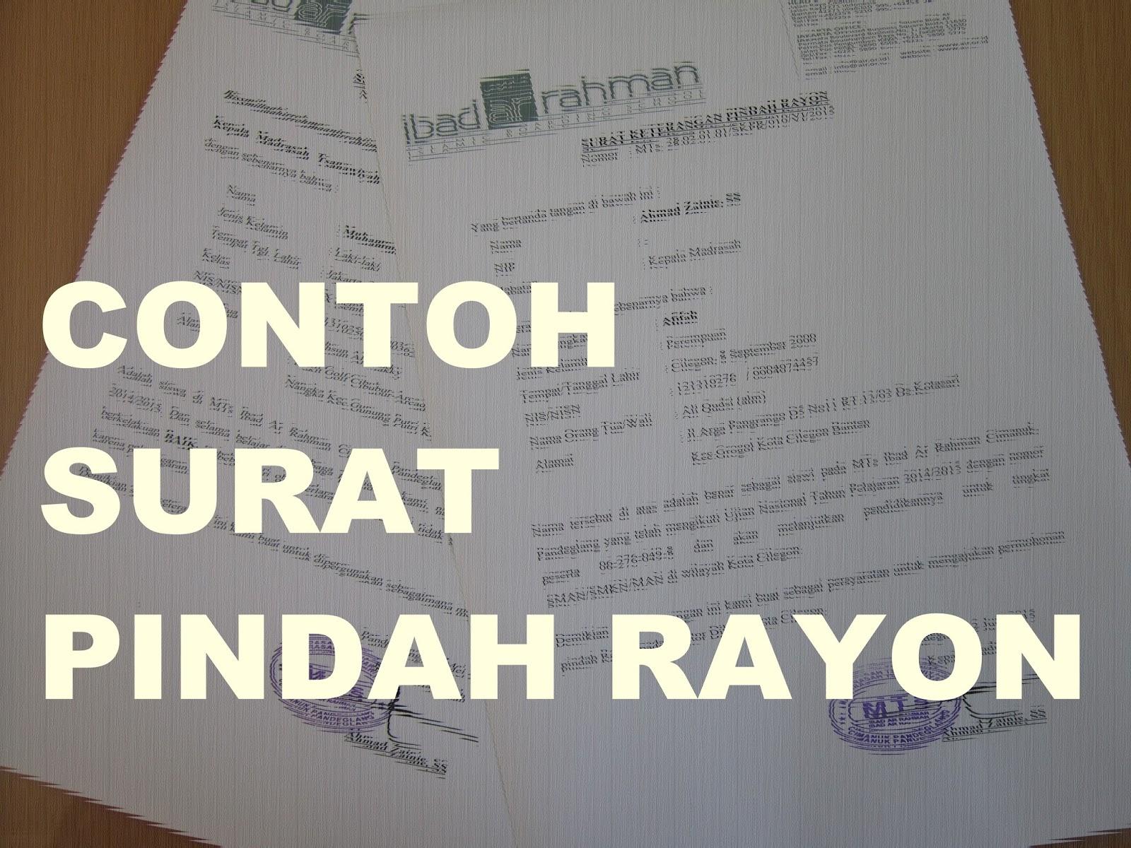 Contoh Surat Keterangan Pindah Rayon Guru Madrasah