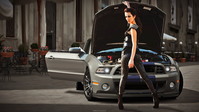 Wallpaper: Girl in Front of a Ford Shelby GT500