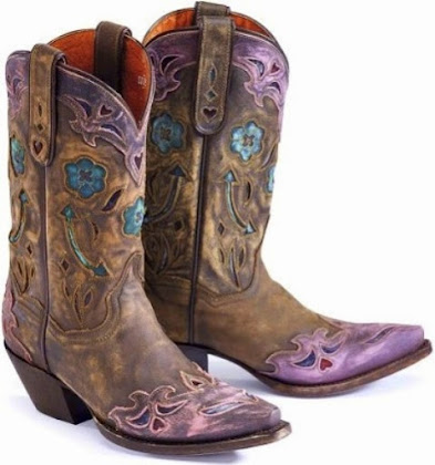 Western Boots with Flowers, Hearts, Doves the Arrows upon Cowgirl ...