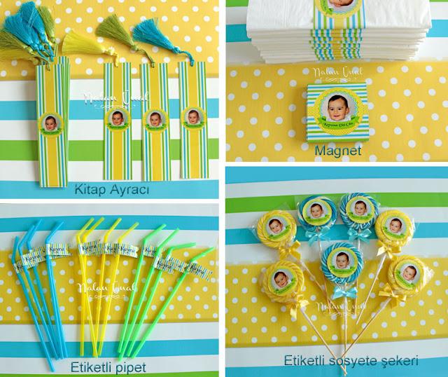 kitap ayraçları magnet etiketli pipet ve lolipop şekerler