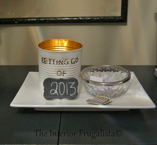 Tin can with a tealight inside for New Years Eve Letting Go Ceremony