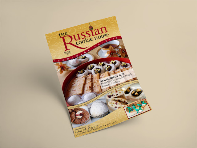 The Russian Cookie House logo and flyer design