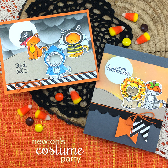 Halloween Cards by Jennifer Jackson | Newton's Costume Party Stamp Set and Die Set by Newton's Nook Designs #newtonsnook #handmade