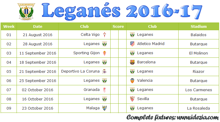 Download Jadwal CD Leganés 2016-2017 File JPG - Download Kalender Lengkap Pertandingan CD Leganés 2016-2017 File JPG - Download CD Leganés Schedule Full Fixture File JPG - Schedule with Score Coloumn