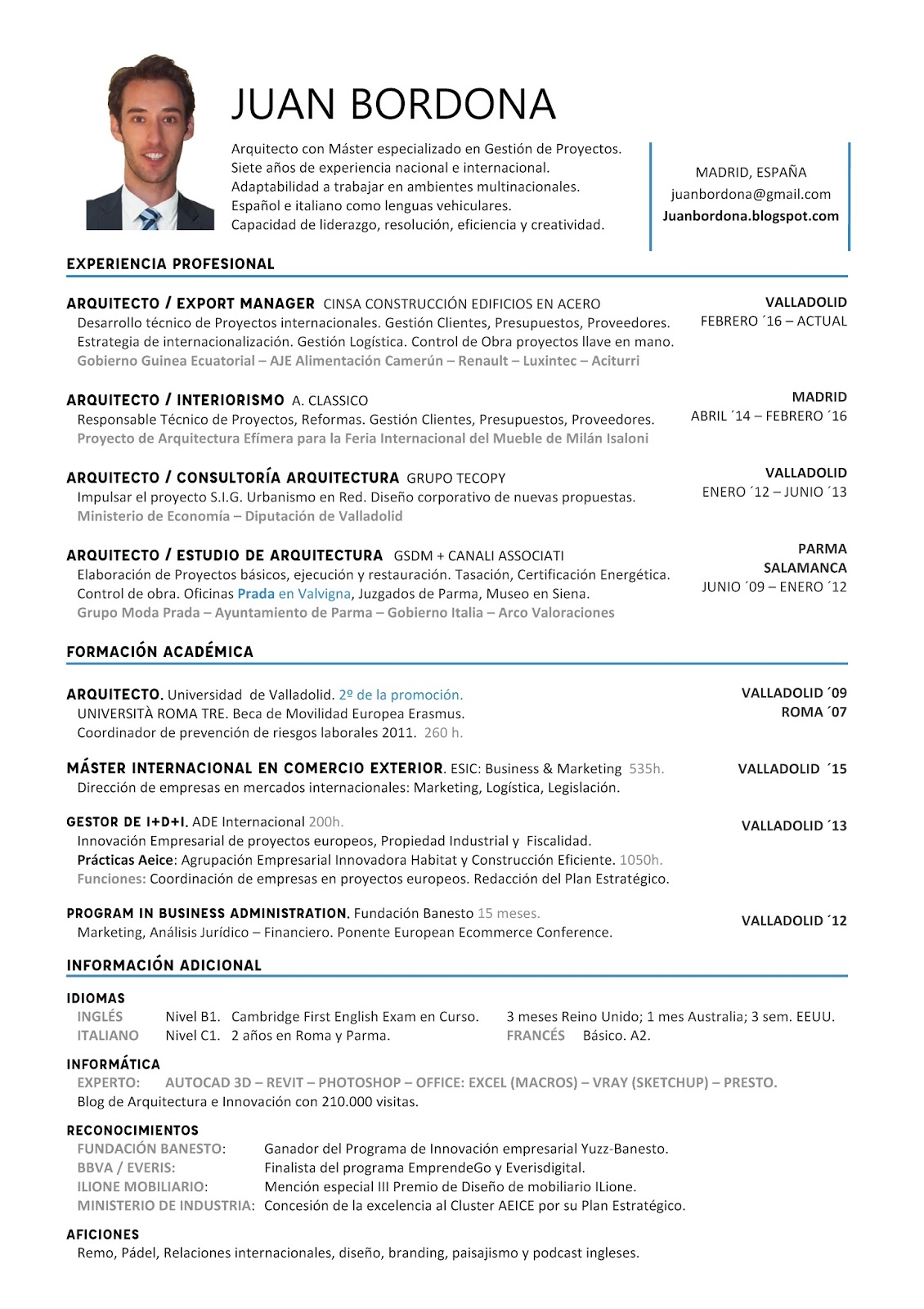 Curriculum Vitae Arquitecto Juan Bordona | Blog de Juan Sánchez-Bordona
