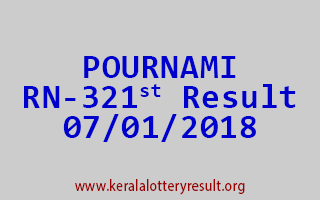 POURNAMI Lottery RN 321 Results 7-1-2018