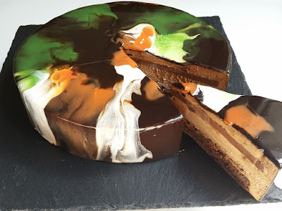 Coffee Mousse Cake with black chocolate Mirror glaze