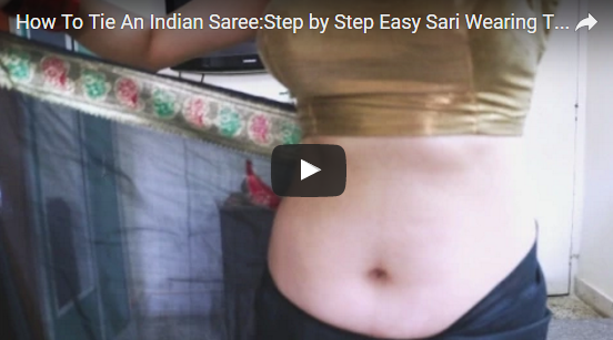 How to wear saree below navel