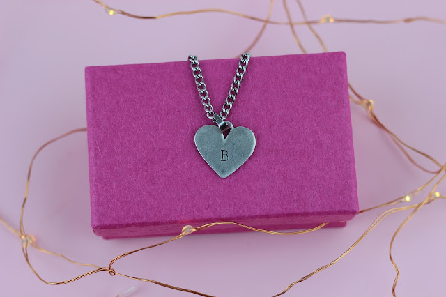 unicorn born heart initial chain necklace