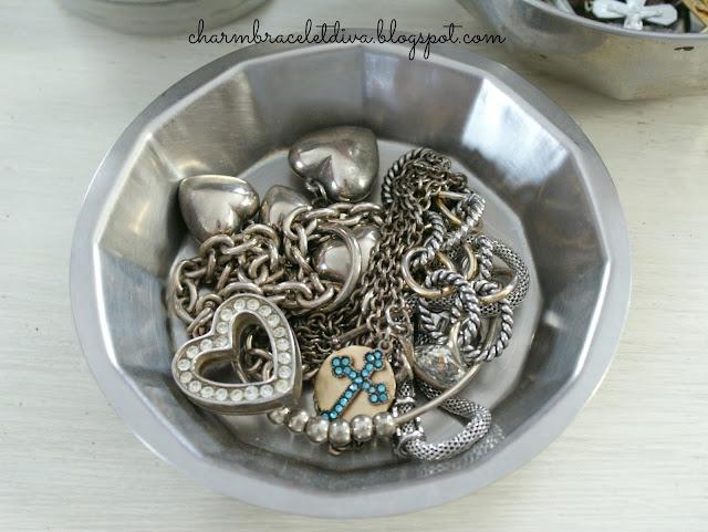 silver rhinestone heart charms blue rhinestone cross charms