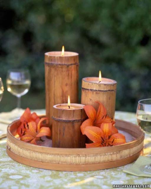 Tempat lilin dari bambu