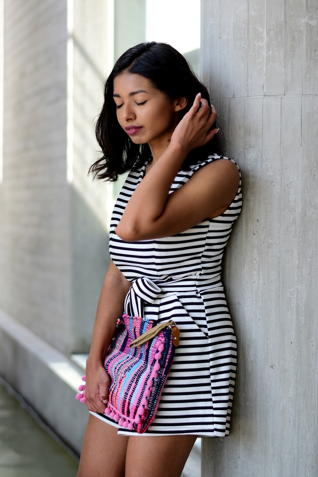summer striped dress and gladiator sandals outfit ideas