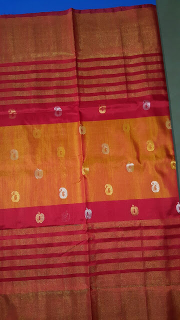 Unique Uppada orange with red lines silk saree