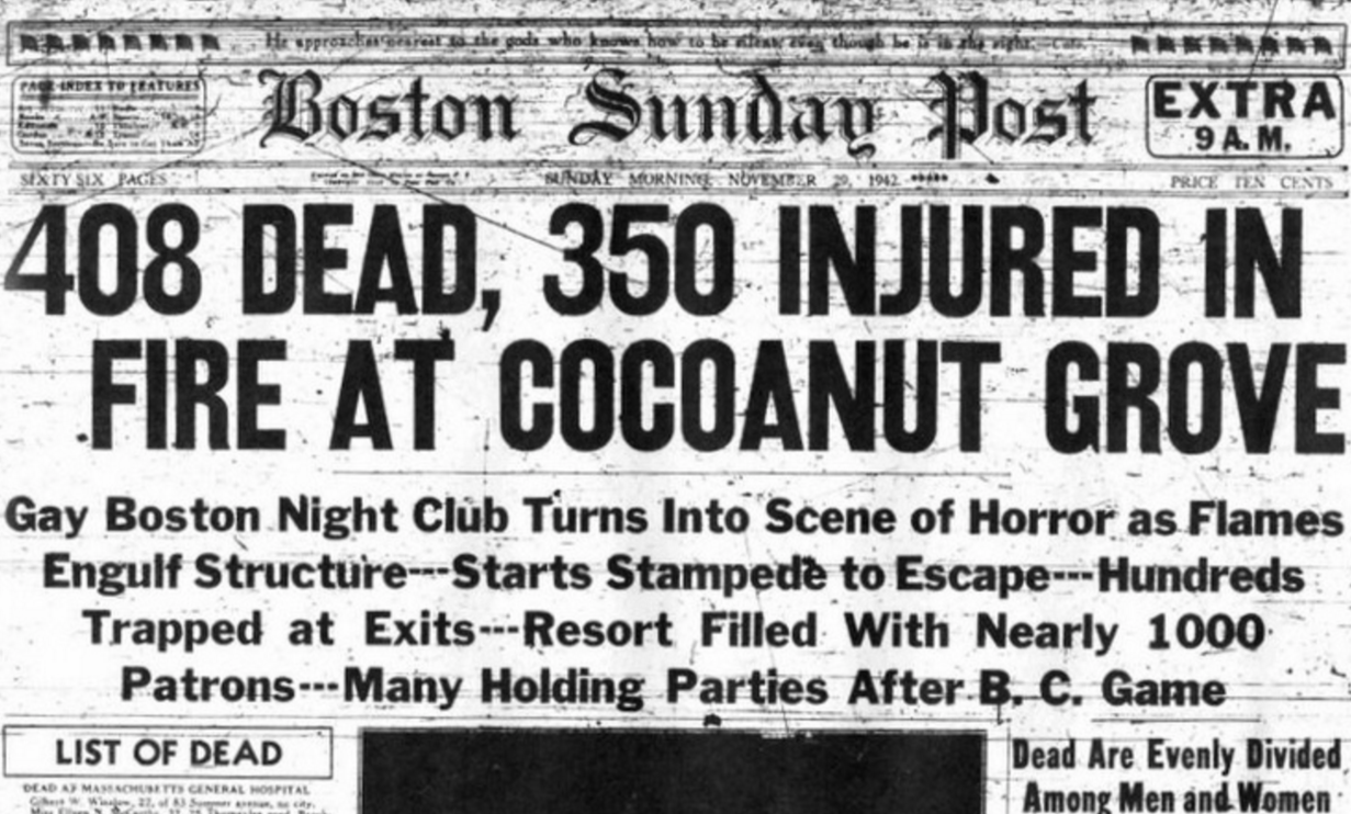 report on cocoanut grove nightclub fire The cocoanut grove nightclub fire was the worst fire disaster in american history it occurred november 1942 in boston 492 people were killed and more injured.