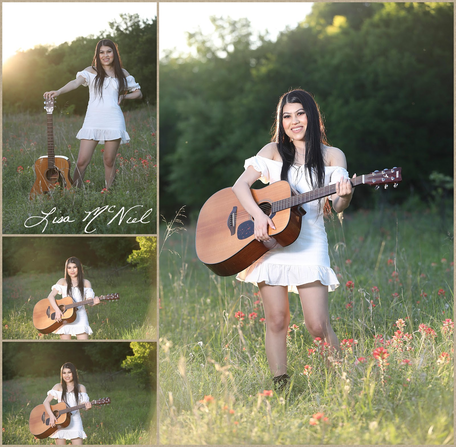 teen girl in white dress in wildflowers with guitar