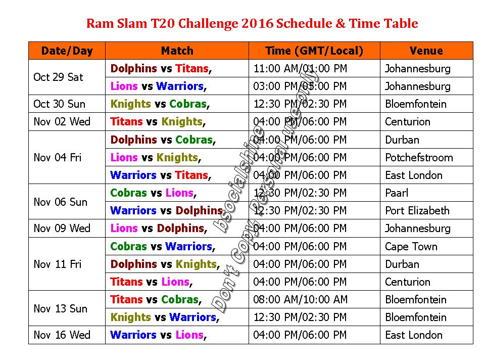 T20 Match 2016 Schedule Time Table Ram Slam