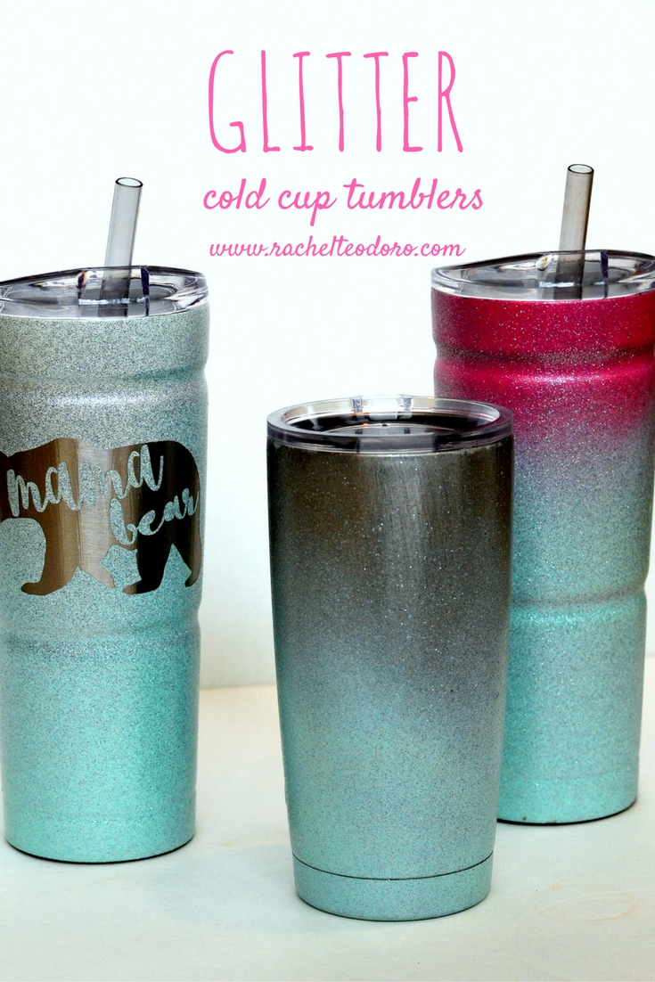 ombre spray painted glitter cold cup tumblers with full tutorial. Black Bedroom Furniture Sets. Home Design Ideas