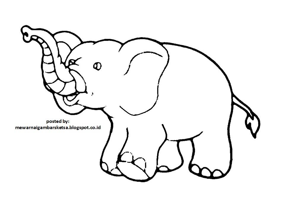 Mewarnai Gambar: Mewarnai Gambar Sketsa Hewan Gajah 1
