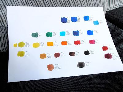 Paleta de colores de acuarelas