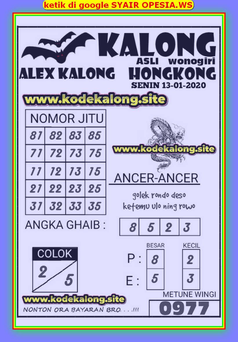 Kode syair Hongkong Senin 13 Januari 2020 92