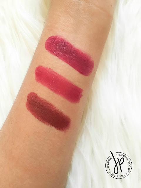 Wet N Wild Sugar Plum Fairy (matte), The Face Shop Moisture Touch Lipstick PP02 (moisture), MAC Diva (matte)