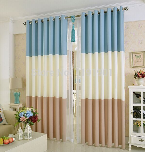 simple brown, blue and white curtain designs