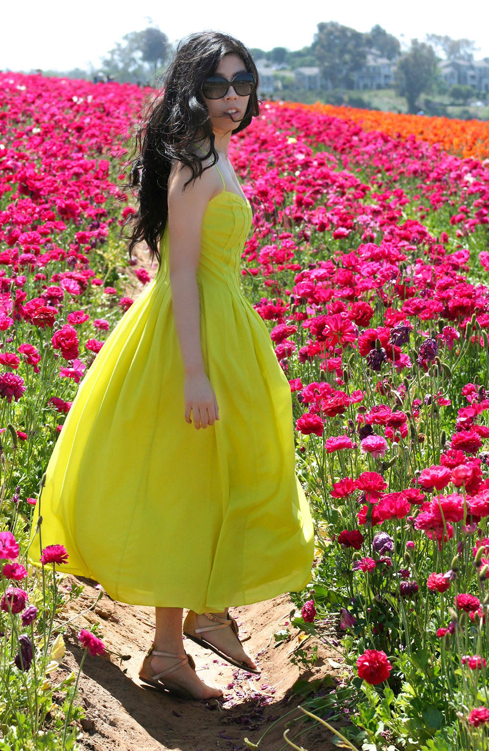 how to wear a yellow dress_yellow chiffon dress