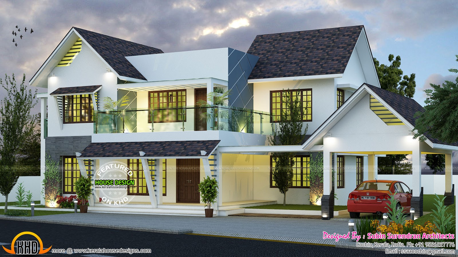 Modern slope roof residence kerala home design and floor for Slope home design