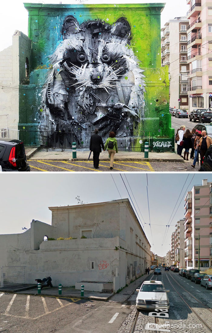 10+ Incredible Before & After Street Art Transformations That'll Make You Say Wow - Trash And Found Object Racoon Mural, Lisbon, Portugal