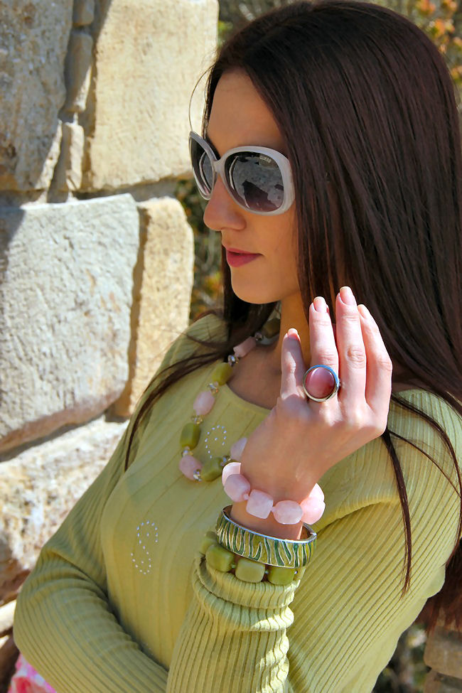 Glam Chameleon Jewelry lemon jade and rose quartz necklace and bracelets