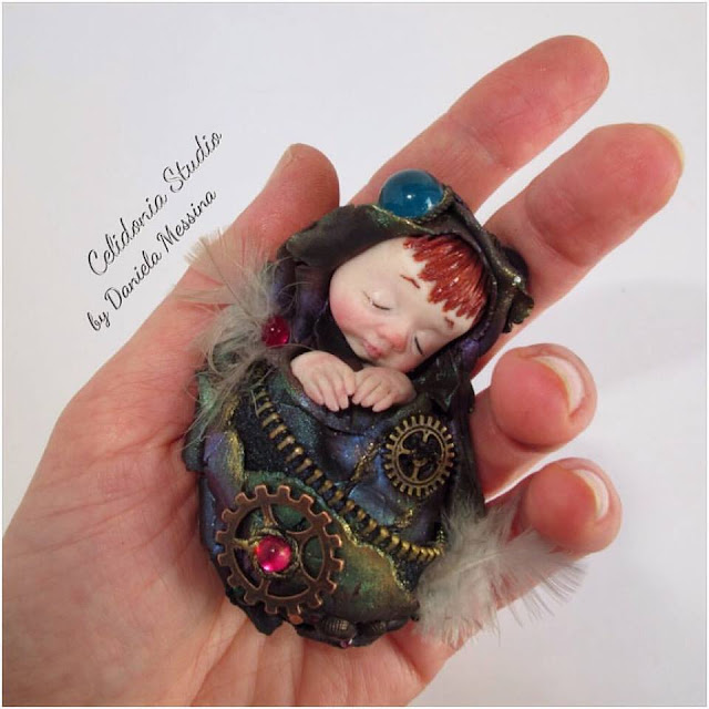 Steampunk Baby Fairy - Polymer Clay Sculpture by Celidonia