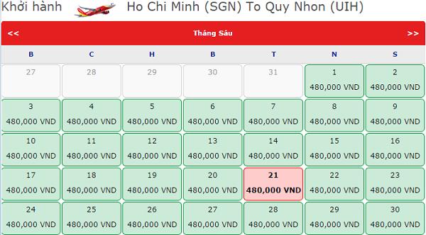 Giá vé máy bay Vietjet Air đi Quy Nhơn tháng 6