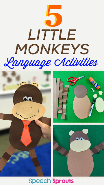 We made this this adorable Five Little Monkeys Craft after reading the storybook. My preschoolers absolutely loved it! Add a tie for boys, a boy for girls. Too. Cute! www.speechsproutstherapy.com