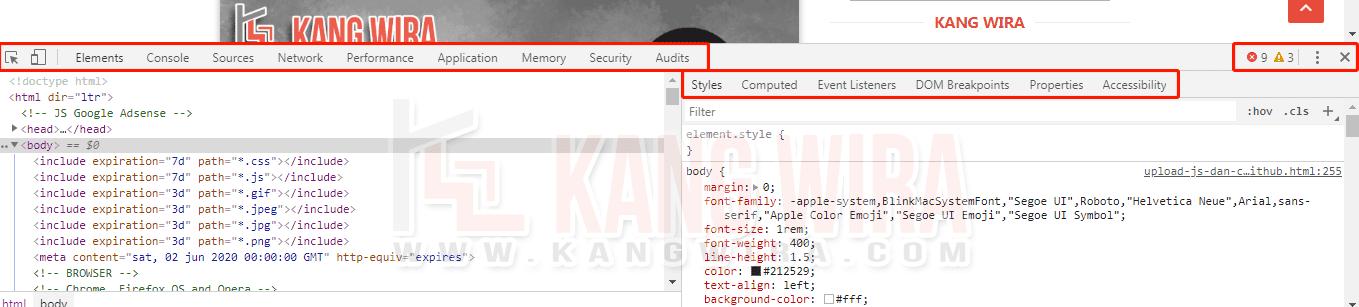 Melihat Kode Template Menggunakan Inspect Element