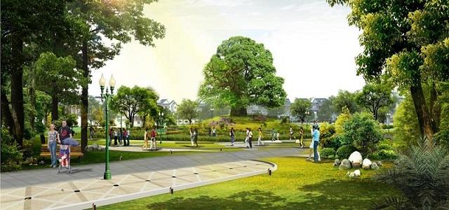 Công viên xanh, đường bạo bộ quanh dự án