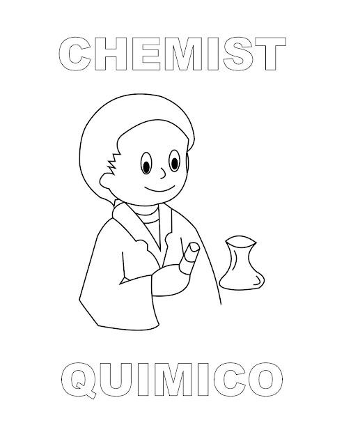 Dibujos Inglés Español Con Q Químico Chemist