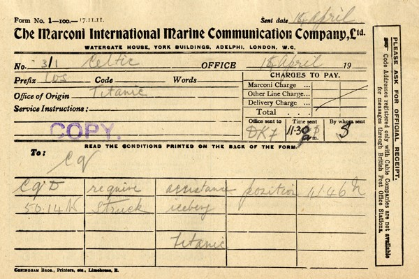 SOS enviado do Titanic