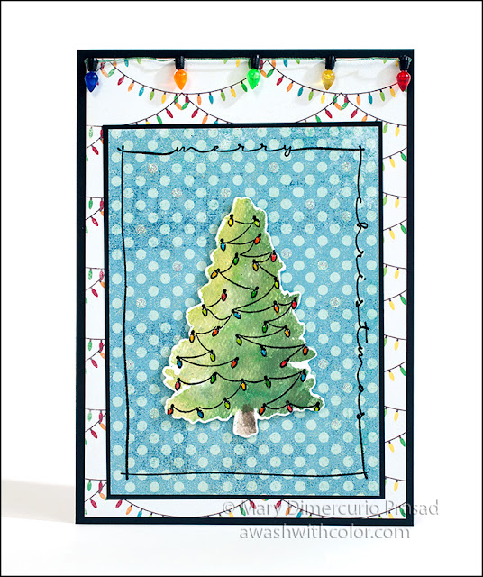 Rubbernecker Stamps Color Burst Christmas Tree