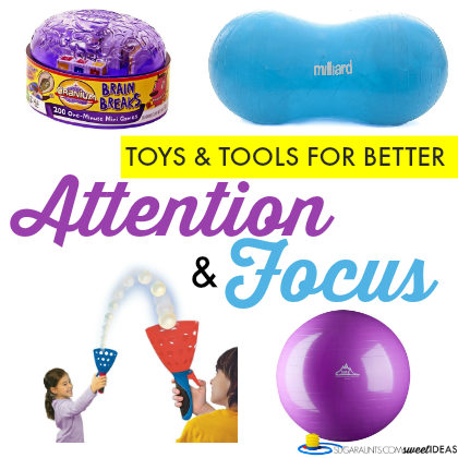 Toys and tools to help with attention and focus in kids.