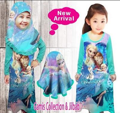 Model Baju Muslim Untuk Anak Perempuan Frozen Terbaru