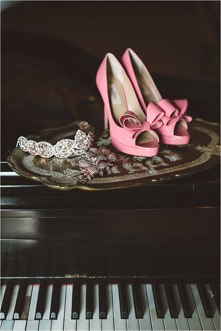 Pink bridal shoes with bows