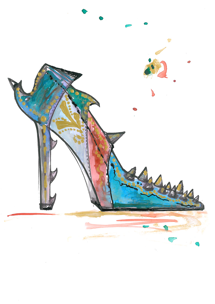Watercolor Illustration Print Steampunk Fashion Shoe