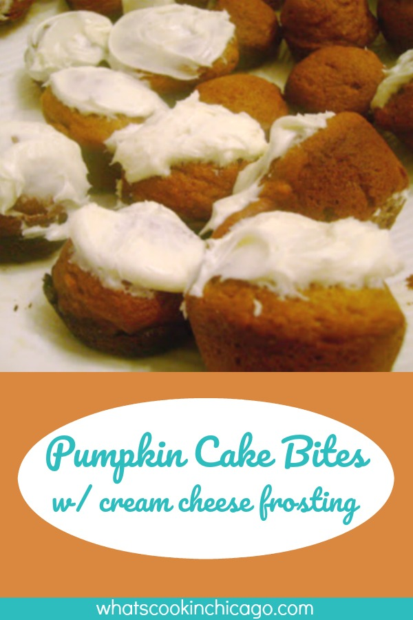 titled image (and shown): Pumpkin Cake Bites with Cream Cheese Frosting