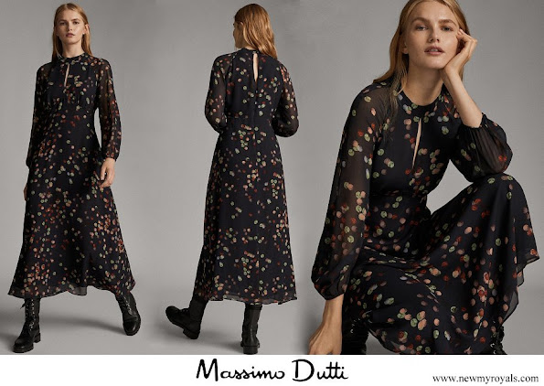 Queen Letizia wore Massimo Dutti confetti-print shirt-dress