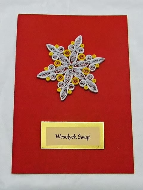 kartka świąteczna, Boże Narodzenie, quilling