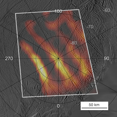 "Heat map of Enceladus' ""tiger stripes"""
