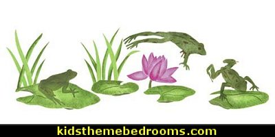 Designer Stencils Frog and Lily Pads Wall Stencil  frog theme bedrooms - frog bedroom decor - frog theme decor - frog themed gifts - froggy wallpaper frog murals - frog wall decals - frogs in a pond wall decor -  Frog Prince decor - pond theme decals - frog duvet set - decorating frog theme - frog theme for baby nursery - frog pond baby nursery