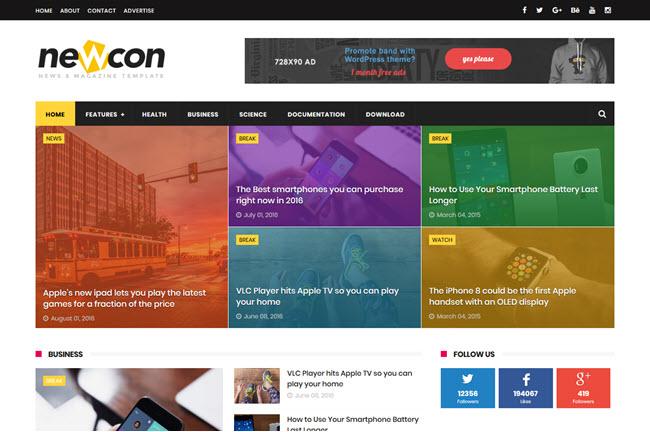 Newcon - Responsive Magazine Blogger Template